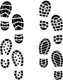 Shoe print. Set of four shoes silhouette Stock Photography