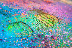 Shoe print on colorful background Royalty Free Stock Image