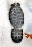 A shoe print. Made in snow Royalty Free Stock Images