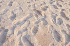 Shoe print at beach Royalty Free Stock Photo