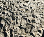 Shoe print on the sand Royalty Free Stock Photography