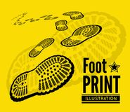 Shoe print. Vector illustration on yellow background Stock Image