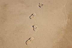 Shoe prints. On the beach Stock Photo