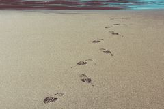 Shoe prints at a beach in Cornwall royalty free stock image