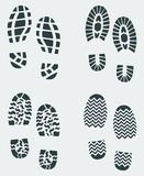 Shoe Prints Vector 2. Shoe print patterns of various shoe and boot treads created in Adobe Illustrator Royalty Free Stock Photos