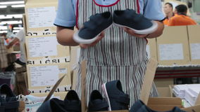 Shoe quality inspection process Stock Photo