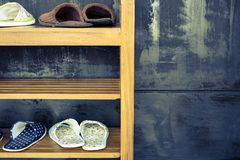 Shoe rack. And slippers in retro color style stock image