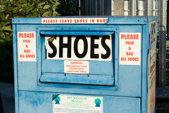 Shoe recycle bin Royalty Free Stock Photos