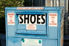 Shoe recycle bin royalty free stock photos