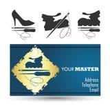 Shoe repair business card master Royalty Free Stock Image