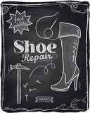 Shoe repair chalkboard. Stock Photo