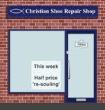 Shoe repair shop. Christian shoe repair shop with half price resouling Royalty Free Illustration