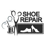 Shoe repair silhouette. Shoe repair is silhouette for business. Scissors, needle and thread reel Royalty Free Stock Photo