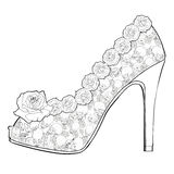 Shoe with roses and skulls.  Coloring books for adults. Royalty Free Stock Photo