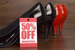 Shoe sale. Shoes on sale in shop Royalty Free Stock Image