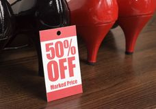 Shoe sale. Shoes in a shop on sale Royalty Free Stock Images