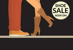 Shoe sale now on black shopping banner with human legs wearing shoe and boots Stock Photos