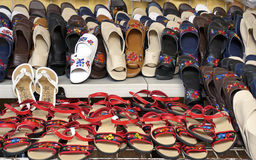 Shoe and sandal display in Merida Mexico Royalty Free Stock Images