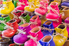 Shoe shaped colored flowerpots Royalty Free Stock Image