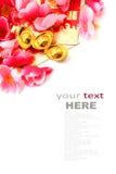 Shoe-shaped gold ingot (Yuan Bao) and Plum Flowers royalty free stock photography