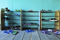 Shoe shelf Royalty Free Stock Photography