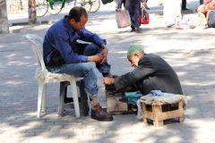 Shoe Shine. In Marrakech, Morocco stock photography
