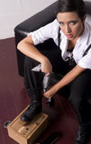 Woman Shines Boots Traditional Shoe Shine Box Stock Photos