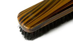Shoe shine brush. Close-up object with brown and black mix color Royalty Free Stock Photo