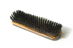Shoe shine brush. Close-up of the brush shoes with black hair Royalty Free Stock Image