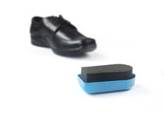 Shoe shine sponge with Shoe Stock Photography