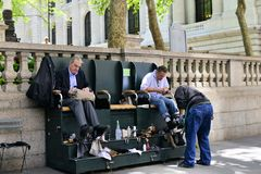 Shoe Shine Street Scene Stock Photography