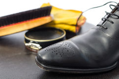 Shoe shining equipment Royalty Free Stock Image
