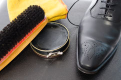 Shoe shining equipment Stock Photography