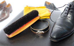 Shoe shining equipment Royalty Free Stock Images