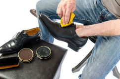 Shoe shining Royalty Free Stock Photography