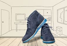 Shoe. Dress  black brogue leather white pair vector illustration