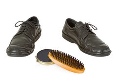 Shoe with shoe polish Stock Images