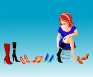 Shoe shop. An illustration of a girl shopping for shoes Stock Images