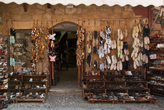 Shoe shop in Rhodes Royalty Free Stock Images