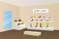 Shoe shop shopping center mall modern beige interior illustration Stock Images