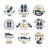 Shoe shop vintage logo design set, premium footwear quality estd 1963 vector Illustrations Royalty Free Stock Image