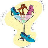 Shoe shopaholic. Illustration of a martini glass with shoes and an olive in it Stock Photos