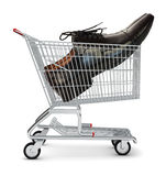 Shoe in shopping cart Stock Images