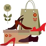 Shoe shopping, shopping bag and different shoes Stock Photos