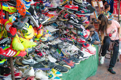 Shoe shops in Chatuchak Market. Bangkok Thailand. Stock Images