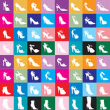 Shoe Silhouettes 2. Vector Shoe Silhouettes 2 with colorful background Royalty Free Stock Photography