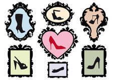 Shoe silhouettes in antique frames,  set Royalty Free Stock Image