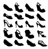 Shoe silhouettes-vector Royalty Free Stock Photography