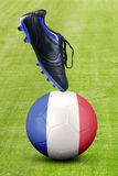 Shoe with soccer ball and France flag Royalty Free Stock Images