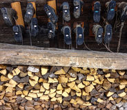 Shoe soles and firewood Stock Photography